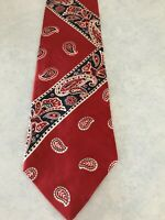Men's Tie Necktie American Traditions Silk Red White Blue Paisley Pattern NEW