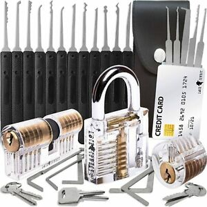Lock Smith Tool Set Pick Lock Training kit 17 Pcs + 3 Locks + Credit card