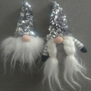 Mr & Mrs GONK tomte nisse SILVER SEQUIN sparkly CHRISTMAS TREE DECORATION grey