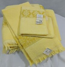 New listing Vtg Jc Penney Bath and Hand Towel Facecloth Terry Cloth Buttercup Yellow
