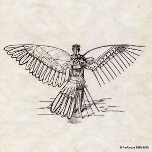 "Ink drawing signed Parfonova Aya Study Wings Davinchy Vetruvian men 8x11"" ☂"