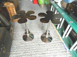 pair original vintage chrome side tables