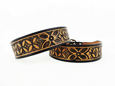 """22"""" BLACK & TAN WESTERN STYLE DIAMOND FLORAL TOOLED LEATHER CANINE DOG COLLAR"""
