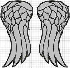 "REFLECTIVE Wings LARGE embroidered back patch. dead angel 40cm 16"" walking daryl"