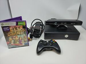Microsoft XBox 360 Slim Matte 4GB Video Console Bundle-No HDD With Kinect