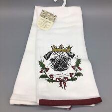 Cynthia Rowley Christmas Pug Dog Kitchen Dish Towel Set 2 Holiday Crown King NEW