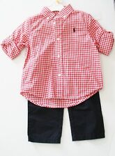 Ralph Lauren Baby Boys Check Shirt & Chino Pants Set Red/White Sz 9M - NWT