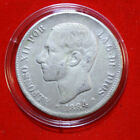 """Spanien 5 Pesetas 1884 Silber Coinage """" Alfonso XII."""" MS-M-KM#688  #F4633"""