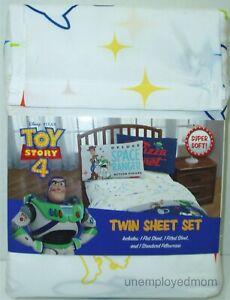 Toy Story 4 Twin Sheet Set 3 Piece Boys Disney Flat Fitted Pillowcase Pixar New