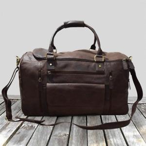 Genuine Leather Travel Bag, Gym Duffel Shoulder Handbag Bag 55-DB002