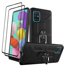 For Samsung Galaxy A51 A71 4G Case Rubber Hard Cover With Glass Screen Protector