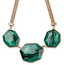 GREEN & BLACK ACRYLIC FAUX STONE Chunky Designer Bib Pendant Statement Necklace