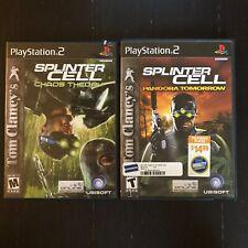 Ps2 Video Game Lot Tom Clancy Splinter Cell Pandora Tomorrow & Chaos Theory