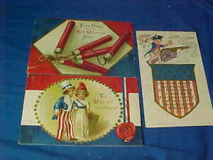 3-Early 20thc FOURTH Of JULY Patriotic POSTCARDS w FIREWORKS Etc