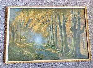 "Vintage D Sherrin Autumnal Tones Print Original Frame 19.5"" x 13.5"""