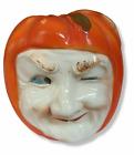 Vintage Halloween Pumpkin Head Jack O Lantern Winking Man ceramic String Holder