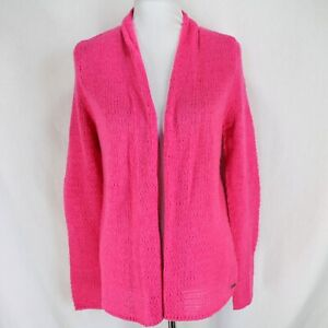 Hollister Cardigan Sweater Size M Pink Open Front Open Weave Wool Blend NEW