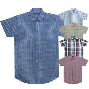 Mens Short Sleeve Summer Yarn Dyed PolyCotton Check Shirt S - 6XL Pierre Roche