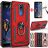 For LG K40/K12 Plus Shockproof Rugged Hybrid Stand Armor TPU Case+Tempered Glass