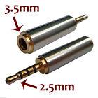 Gold 2.5mm Male to 3.5mm Female Stereo Mic Audio Earphone Jack Adapter Converter