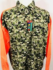 SNAP ON Mens Long Sleeve HUNTING Button Front Shirt XXL CAMO Orange Sleeves NEW