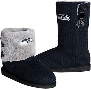 NFL Seattle Seahawks Knit Team Color High End Button Women Boot Slipper - M Size