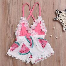 Newborn Infant Kids Baby Girl Print Outfit Lace Romper Jumpsuit Playsuit Clothes