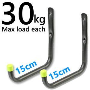 2 Large Heavy Duty Storage Hooks Garage Tool Bike Ladder Wall Mounted Brackets