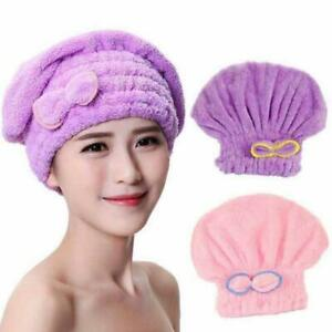 Women Rapid Fast Drying Towel 2pcs Dry Hair Cap Soft Thick Absorbent Shower Hat