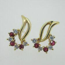 14K Yellow Gold Diamond Ruby Earrings