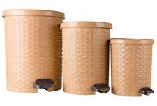 3er Mülleimer Set Rattan  Müllabwurf Abfallbehälter|Beige