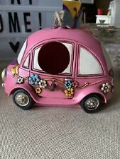 Garden Vw Beetle Volkswagen Bug Birdhouse Bird House Flower Power Pink