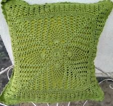 """Crochet full lace colored cushion cover size 16""""x 16"""" color Green"""