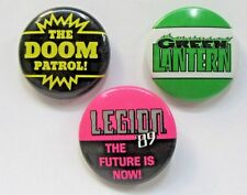 "DC COMICS lot of 3 diff 1.25"" pinback buttons LEGION DOOM PATROL GREEN LANTERN"