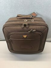 Brown Boyt Jump Carry-On Roller Bag Handle Faux Leather Suede Map Lining Pilot