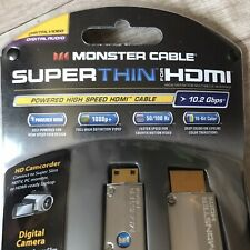 Monster Cable Super Thin Mini HDMI To HDMI 2 Meters 6.56ft Type C To Type A New