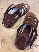 Dark Brown Leather Gladiator Sandals Buck Ankle Jesus Slipper Flat Men/'s US.9-15