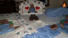Vintage 6 Piece Crib Comforter Set Teddy Bear with matching Wall Hanging,