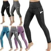 Women Yoga Pants Capri Pockets Leggings High Waist Cropped Workout Trousers AA