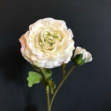 Antique White Faux Silk Ranunculus, Single Realistic Artificial Ivory Flowers
