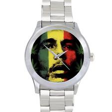 Reloj De Pulsera Bob Marley Reloj Reloj planta de cannabis Jamaica Reloj De Acero Inoxidable