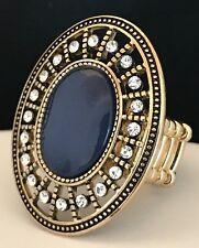 DESIGNER Statement Ring Antique Gold Clear Crystal Stretch Premier Urban Chic 4P