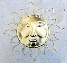 Sun face metal wall art home decor light gold