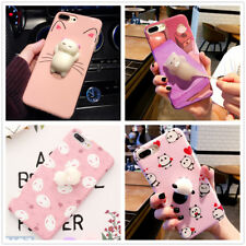 Funny Squeeze Kitten Cute 3D Bunny Squishy Panda Soft Silicone Phone Case Cover