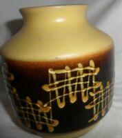 Art Pottery Light Yellow Brown Pot Jar Mid Century Modern MCM Retro Vintage