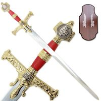 "45"" KING SOLOMON GREAT SWORD w/ DISPLAY PLAQUE Medieval Templar Crusader Knight"