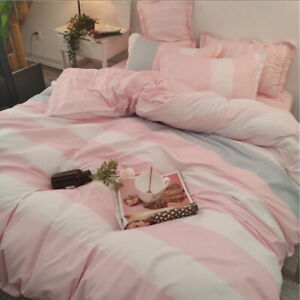 Pink Stripe Comfort  Bedding Set Duvet Quilt Cover+Sheet+Pillow Case Four-Piece