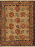 900 Knots Wool/Silk Vegetable Dye Floral 4x5ft Senneh Bidjar Handmade Rug New