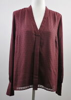Laurie Felt Pleated Dot Blouse Size Small Long Sleeve Women's Top Wine