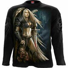 Spiral Direct ANGEL WARRIOR Mens Long Sleeve, Skulls/Viking/T-shirt/Top/Clothing